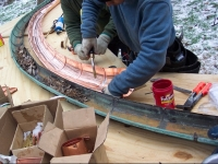 Copper Gutter Being Fabricated